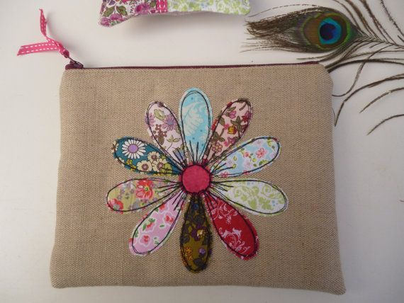 Handmade Cosmetic Makeup Bag Purse Flower Applique Embroidered design, Biscuit Linen fabric, Floral Ditsy Shabby chic fabrics, Fully Lined