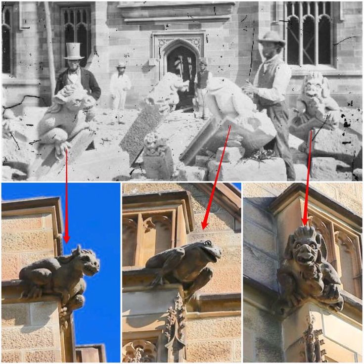 Sydney University Grotesques Then and Now, Main Quadrangle Sydney University 1857 > 2016. [University of Sydney Archives > Curt Flood. By Curt Flood]