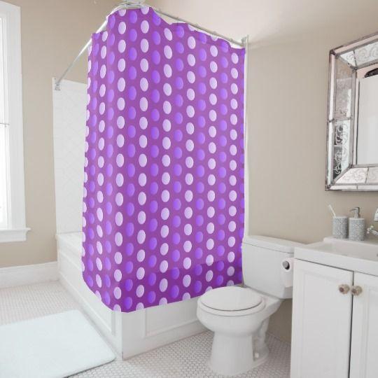 Two tone polka dot pattern purple circles, ovals 2 shower curtain