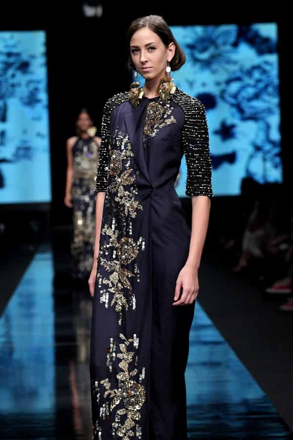 Sumptuous cobalt fabric and decadent embroidery/beading - love (Indonesian designer Biyan Wanaatmadja )