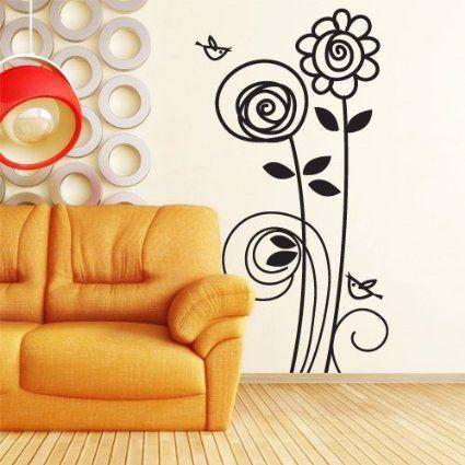 00715 Adesivi murali ''Girasoli e uccellini'' - Stickers adesivi - 64x120 cm - Nero - Decorazione parete, adesivi per muro, carta da parati