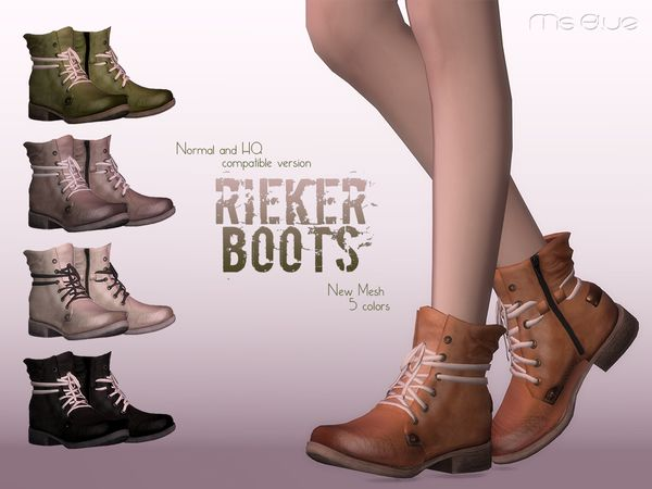 The Sims Resource: Rieker Boots Normal HQ Compatible by Ms Blue • Sims 4 Downloads
