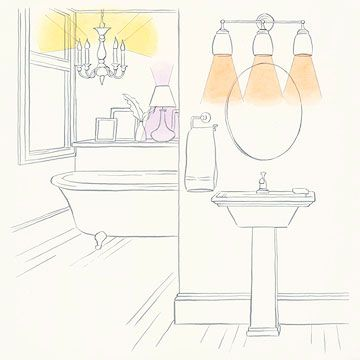 Sconces above and beside a vanity mirror assure appropriate light for daily tasks. Place sconces near face height for the most flattering illumination and the fewest shadows. While task lighting is the most important type in a bathroom, pay attention to the other layers as well. Bathrooms with well-placed accent lighting can be more welcoming, and an overhead light on a dimmer switch is easier on the eyes during late-night or early-morning visits.