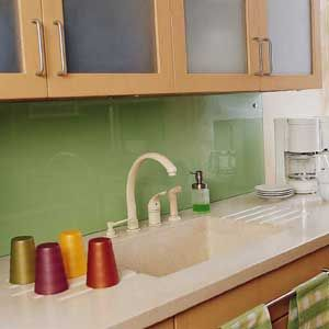 Inspired Whims: Creative and Inexpensive Backsplash Ideas, love the colored  acrylic idea with decorative