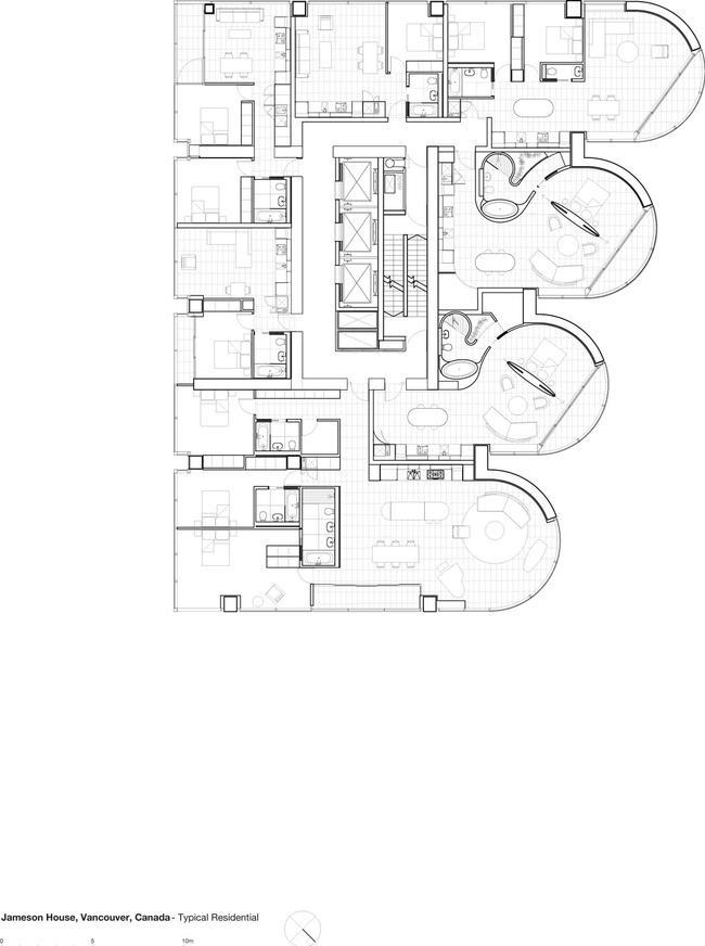 Башня Jameson House. План типового жилого этажа © Foster + Partners