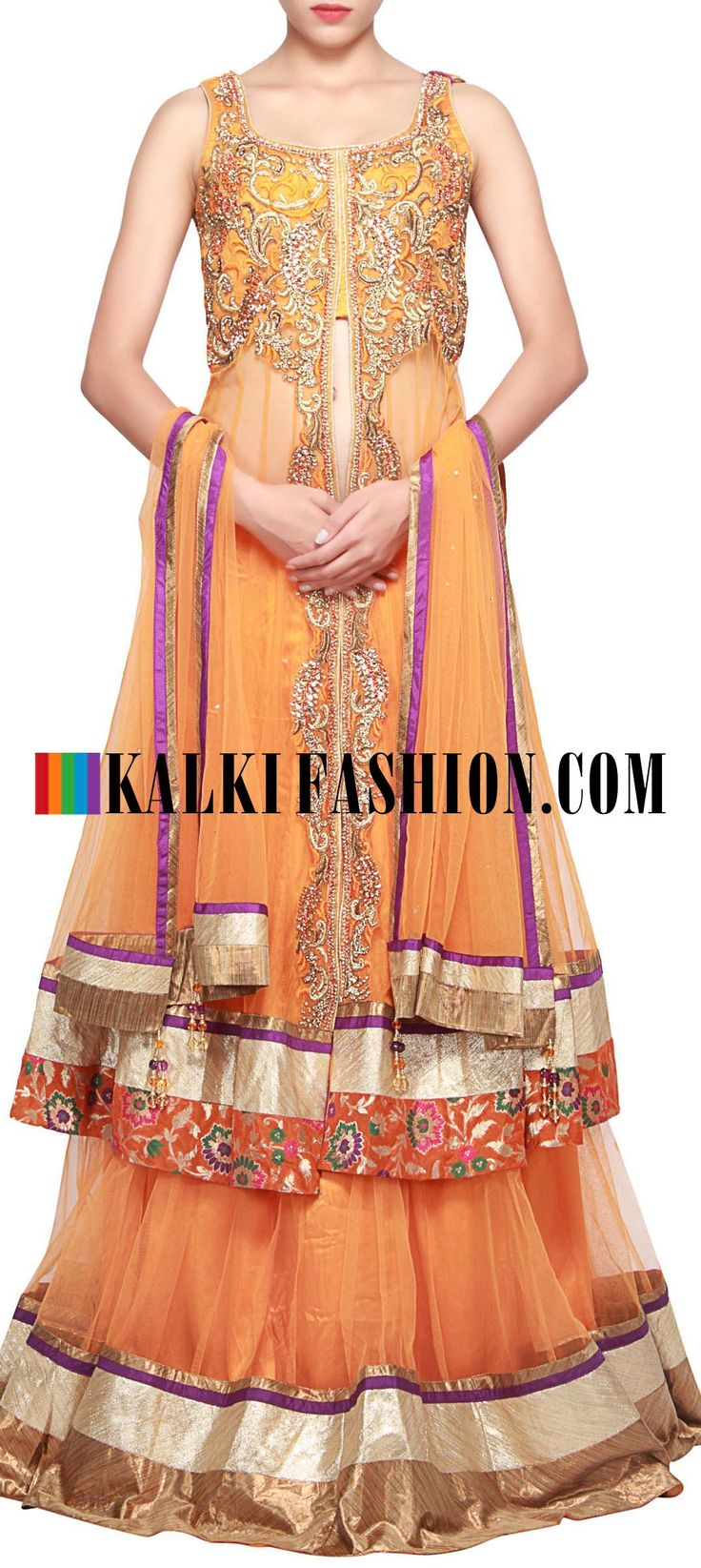 Buy Online from the link below. We ship worldwide (Free Shipping over US$100) Get this beautiful lehenga with: http://www.kalkifashion.com/orange-long-jacket-lehenga-enhanced-in-resham-and-zari-embroidery-only-on-kalki.
