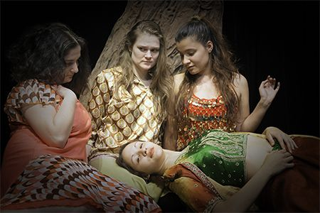 """Seated from left, Meaghan Lukas as Hermia, Madison Kotnarowski as Helena, Rachel Lemos as Titania and Katherine Beauchamps as a Fairy in the MCCC Academic Theatre Company's production of """"A Midsummer Night's Dream,"""" April 1-10, 2016."""