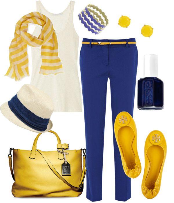 """Royal Blue & Sunshine Yellow"" by fleurdelove on Polyvore"