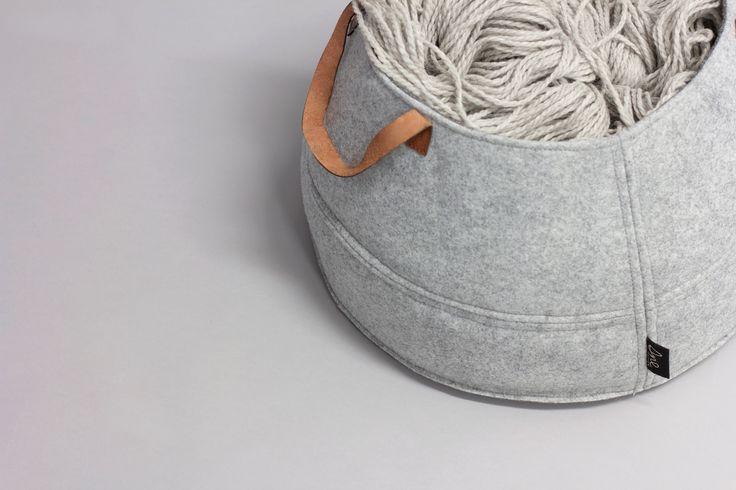 Norwegian design by Christine E. Sveen for snedesign.com. Storage basket made of eco-friendly felt - leather handles.