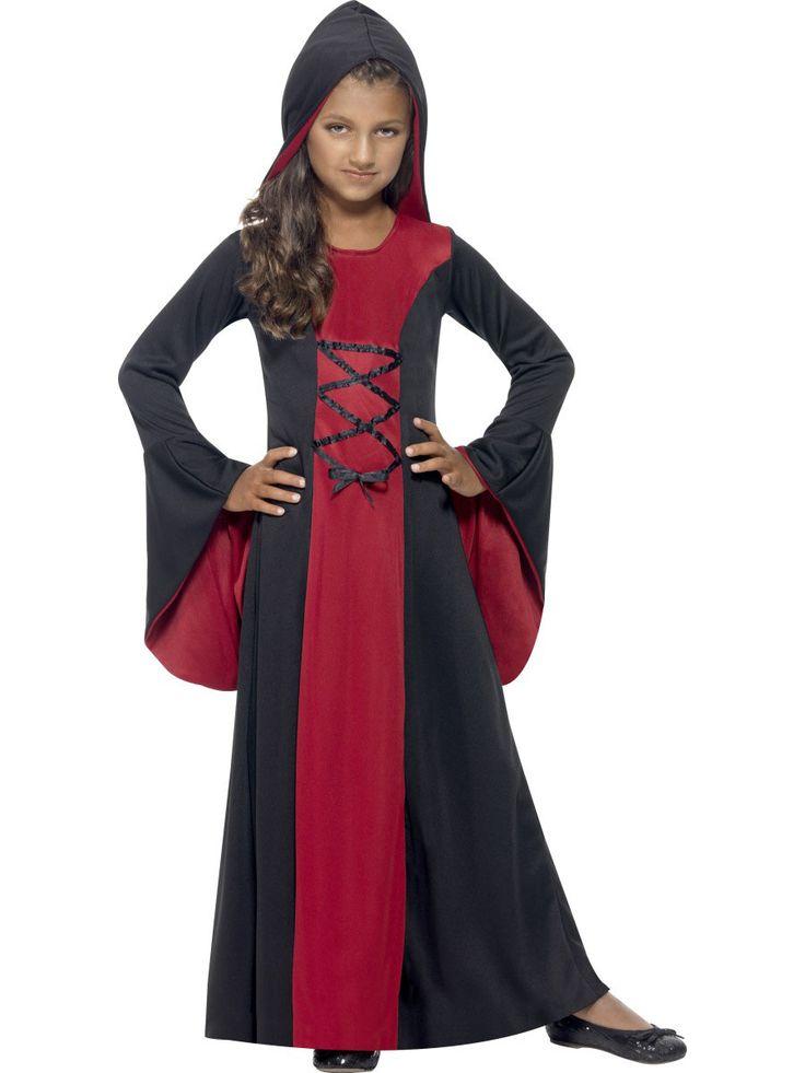 Disfraz hechicera niña Halloween: Este disfraz de hechicera para niña es un vestido con capucha (zapatos no incluidos).Este vestido largo es negro y rojo en el centro.Tiene una lazada negra en el centro y mangas...
