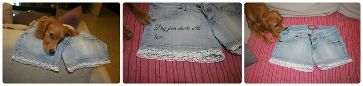 Sincerely Jules: Τζιν σορτς με δαντέλα / Jean shorts with lace (DIY)