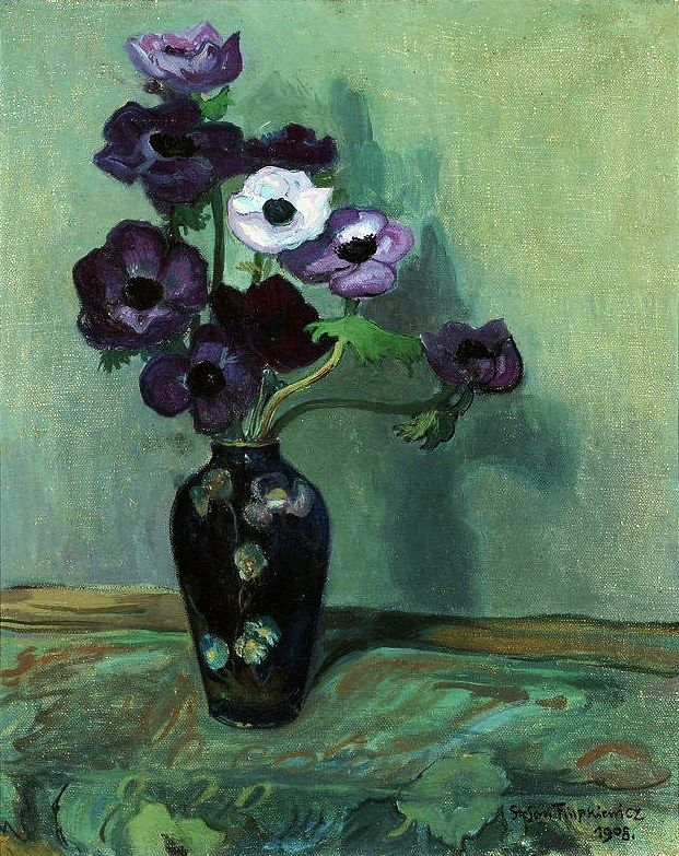 Art. Painting. Flowers. Still life. Vase. Purple. Van Gogh- esque. Impressionist. Beautiful. Oil. Canvas.