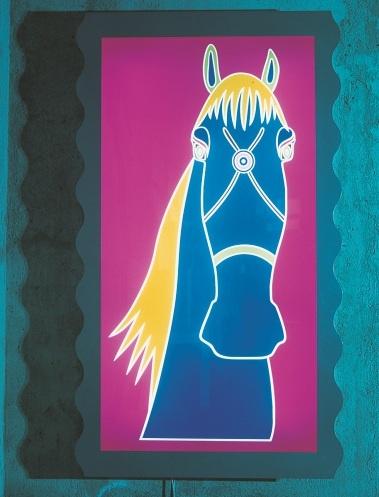 HORSE, quadro luminoso, 1999.  Tipologia luminosa più vicina al mondo dell'arte che del design tradizionalmente  inteso, qui animata dall'immagine di un cavallo addomesticato con la briglia  stilizzata al centro della testa.    A lighting object closer to the world of art than design as it is conventionally taken to be, here enlivened by the image of a tamed horse with a stylized bridle in the middle of its head.  #Paint #Lights #animal #art