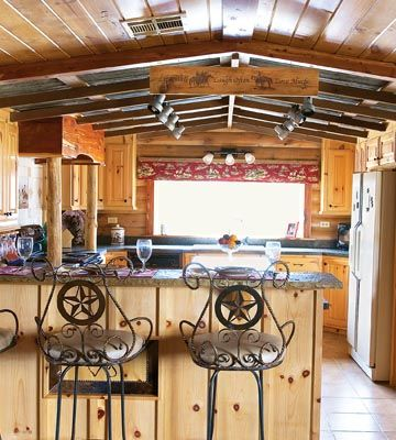 Western Kitchen Design: Become Inspired | Stylish Western Home DecoratingKitchens Interiors, Barstools, Kitchens Design, Cabin Kitchens, Dreams House, Bar Stools, Design Kitchens, Kitchens Makeovers, Westerns Kitchens
