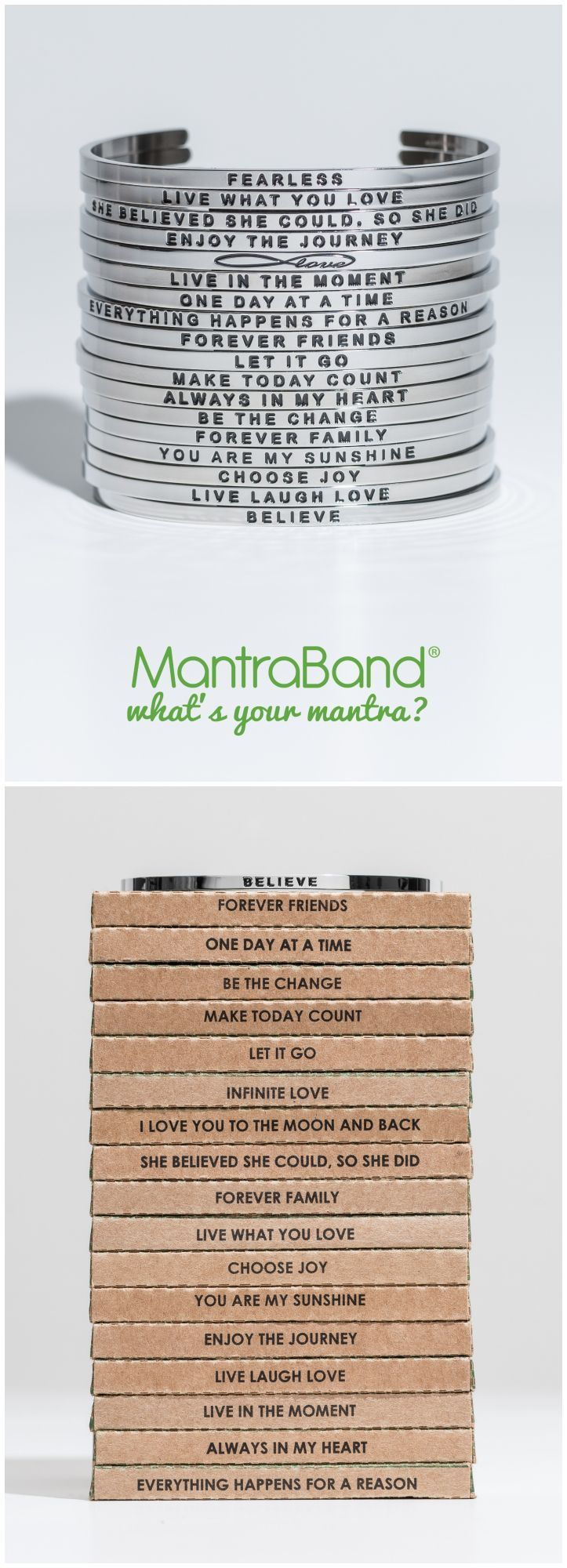 Mantraband Bracelets make the perfect gift for everyone on your list- including yourself. Fully adjustable and will fit most wrists. What's Your Mantra?