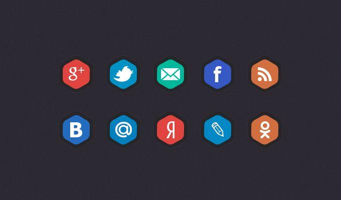 Шестиугольные иконки социальных сетей
