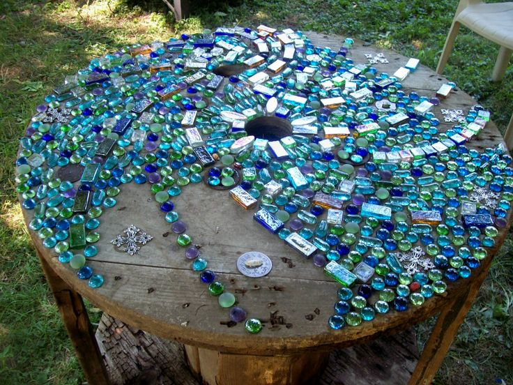 """mosaic tabletop on wood spindle  ~IndigoEarth and Wild Heart Art Studios~: ~Fun & Funky Garden Art Series ~ Mosaic Project """"Colors of the Rainbow"""""""