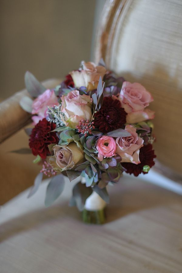 Beautiful pinks, plums, burgundy and shades of crimson wedding bouquet.  Photography by http://riamishaal.com/