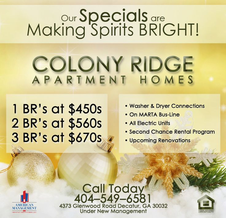 Apartment For Rent Flyer: Colony Ridge Apartments Holiday Special Ad Design By
