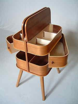 Vtg. 1950s sewing box storage mid-century modern Danish teak