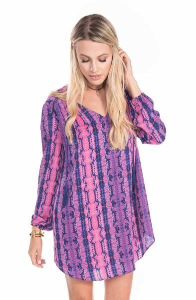 Long Sleeve Pink & Purple Rattlesnake Dress | Sadie Coleman