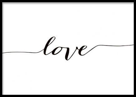 Poster i svartvitt med texten Love. Posters med fina budskap. Texttavla i svartvitt.