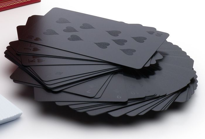 Black on Black playing cards.