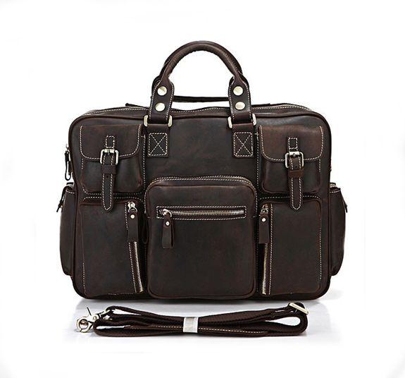 Vintage Crazy Horse Leather Travel Bag / Luggage / Duffle Bag (J06)