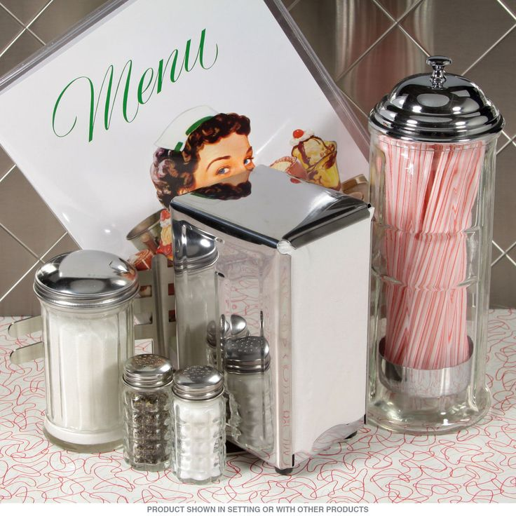 Commercial Quality Diner Tableware Accessories Set - Stainless Steel, Chrome & Glass Dispensers just like in the restaurants! Napkins & Straws Included.