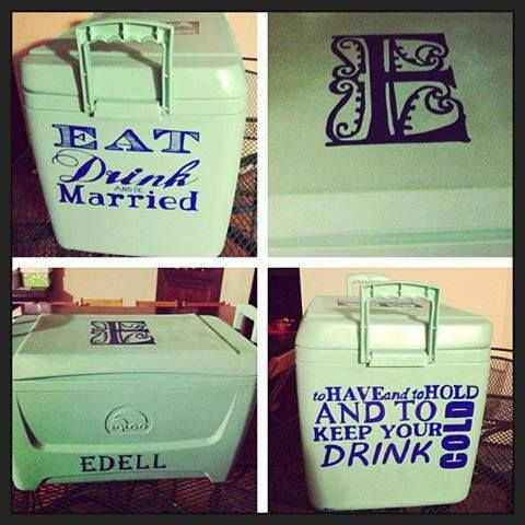 Saw this on The Cooler Connection - the whole wedding party did a river float and one girl painted this cooler for the bride/groom! LOVE IT!     @Tara Harmon Donnelly