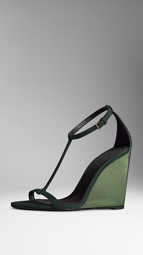 Burberry Dark racing green Suede Wedge Sandals