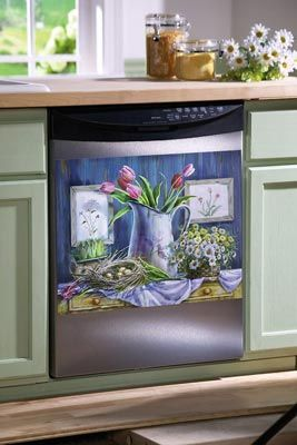 What a cute way to change up the dishwasher front...