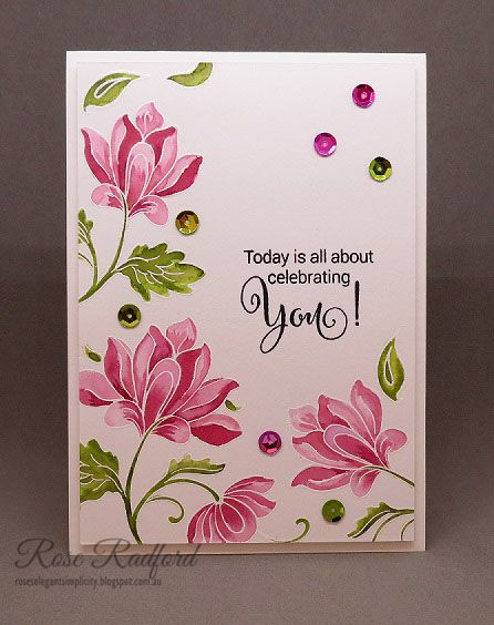 Hello   I thought I would enter today's card in the Pretty Pink Posh Watercolor Blog Hop      There is so much stunning inspiration there I ...