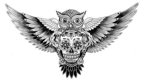 lickmypeepee:  Mexican Skull and Owl tattoo
