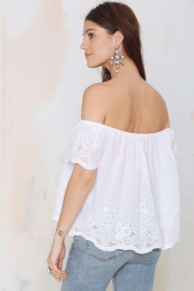 Glamorous Phoebe Eyelet Top - Shirts + Blouses | Off The Shoulder
