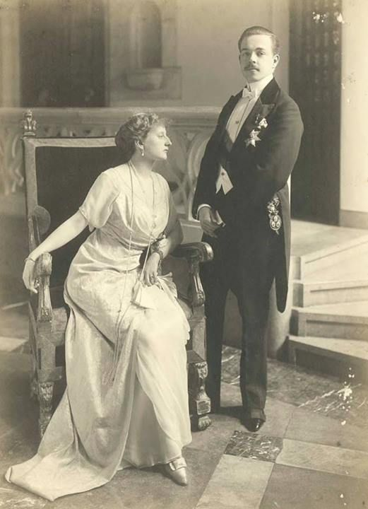 The King and Queen of Portugal in exile. 1920.