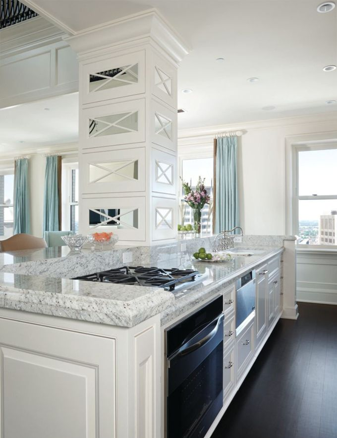 Super White Granite and dark wood floors that extend into master?