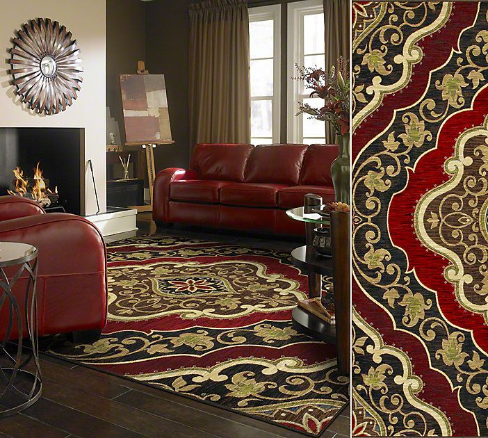 Shaw Floors Area Rug In Style Andora Color Red