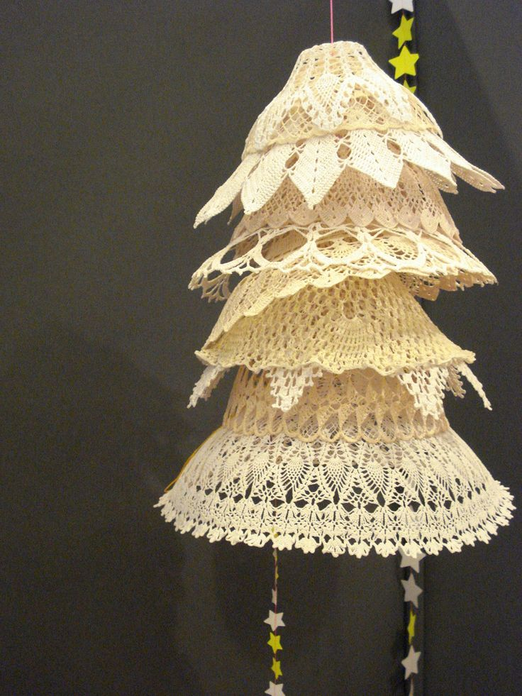 This is made with crocheted(?) doilies/bowls but could be very pretty with paper doilies as well.