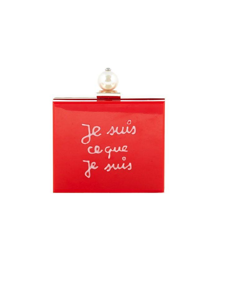 "CECILIA MA ""Je Suis"" red plexiglas clutch bag hand painted front decoration white pearl application gold steel trim removable brass shoulder strap  top latch closure Size: 15x12x5,5 cm"