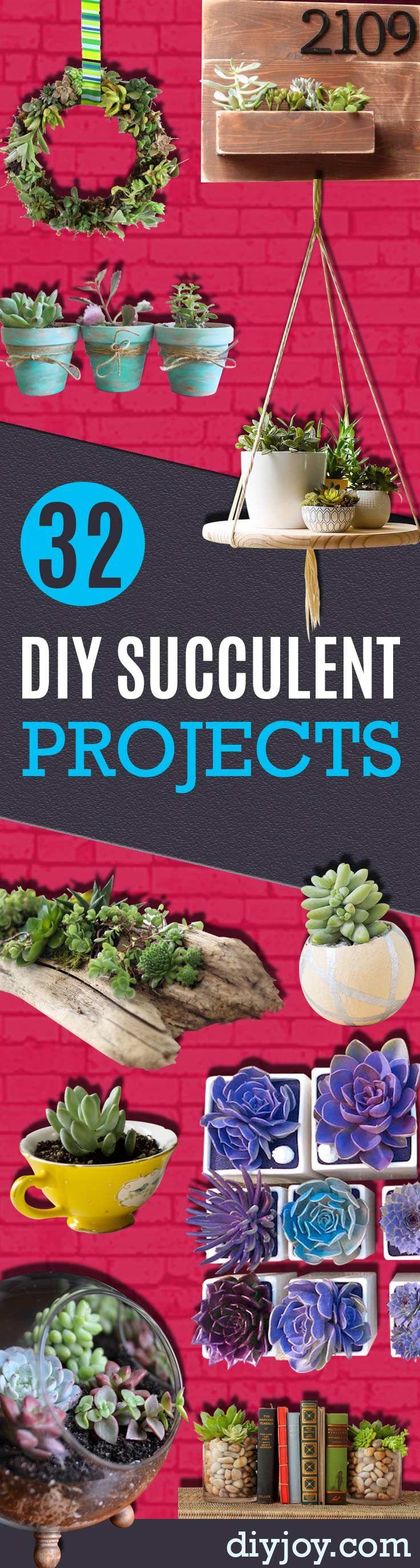 Succulents Crafts and DIY Projects - How To Make Fun, Beautiful and Cool Succulent Cactus Wedding Favors, Centerpieces, Mason Jar Ideas, Flower Pots and Decor http://diyjoy.com/diy-ideas-succulents-crafts