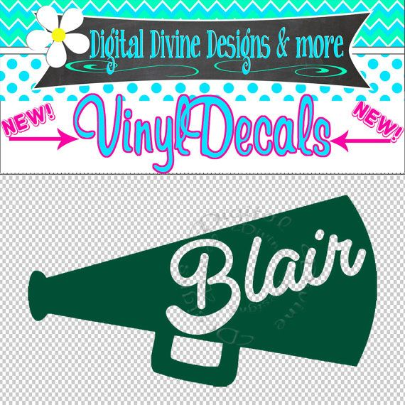 Personalized Cheer Megaphone Vinyl Decal