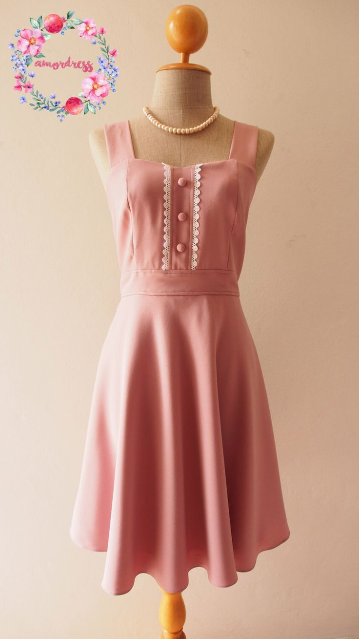 VIENNA - Midi Dress Dusky Pink Bridesmaid Dress Pink Tea Dress Nude Pink Party Dress Vintage Inspired Dress Swing Dress by Amordress on Etsy https://www.etsy.com/listing/478315385/vienna-midi-dress-dusky-pink-bridesmaid