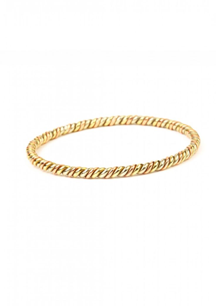 Biswas bracelet - handmade twisted brass - Abareness - on Just Fashion
