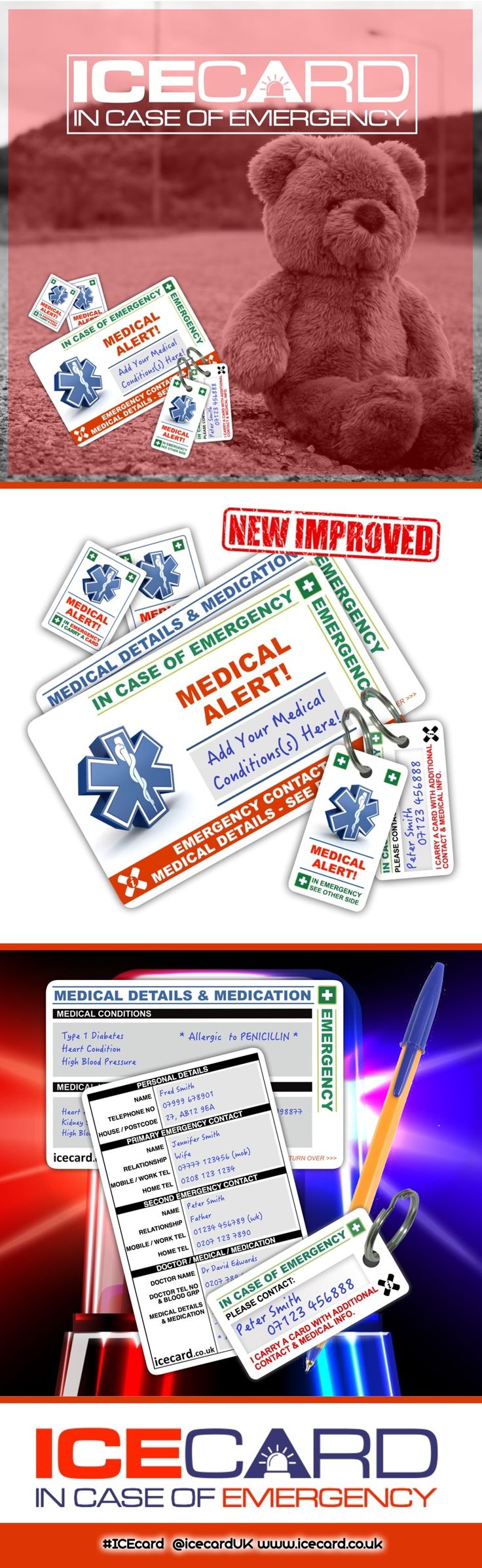 Your In Case of Emergency (I.C.E.) Card provides concise details on who should be contacted in the event of an accident or incident and key medical information.