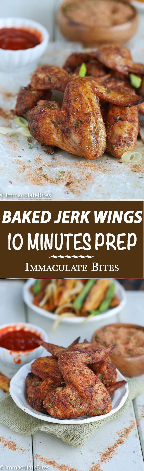 Baked Jerk Chicken Wings- Baked to crispy perfection with all the bold flavors of Jerk Spice rub- 10 minutes prep is all you need!!!