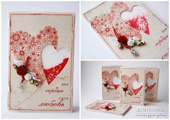 Скрапбукинг открытки с валентинками, годовщиной свадьбы