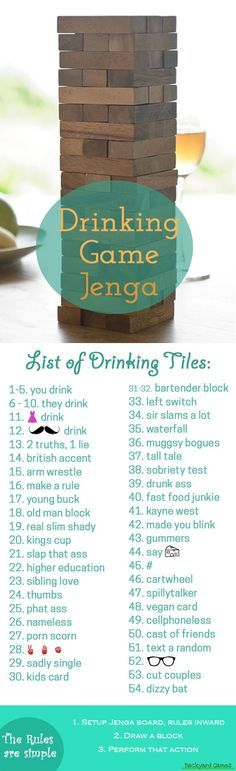 The Jenga Drinking Game will have you falling all over the place in laughter. Here are the funny rules to write on each block for Drunk Jenga & how to play!