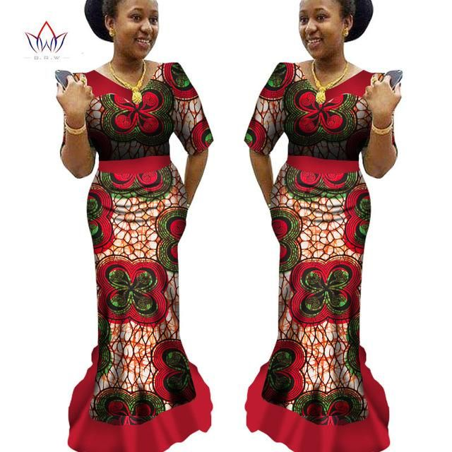 African Traditional Clothing Ankara Print Dashiki V Neck Long