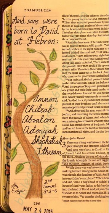 Easy Bible Art Journaling Journey: 2 Samuel 3:2-5 (May 24th)